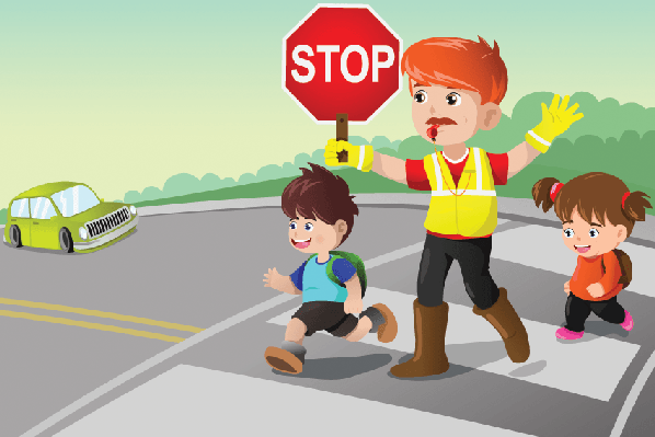Flagger and Kids Crossing the Street.