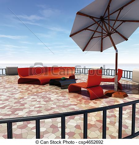 Clip Art of Terrace sunshade.
