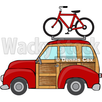 Red Woodie Station Wagon With A Bicycle On Top.