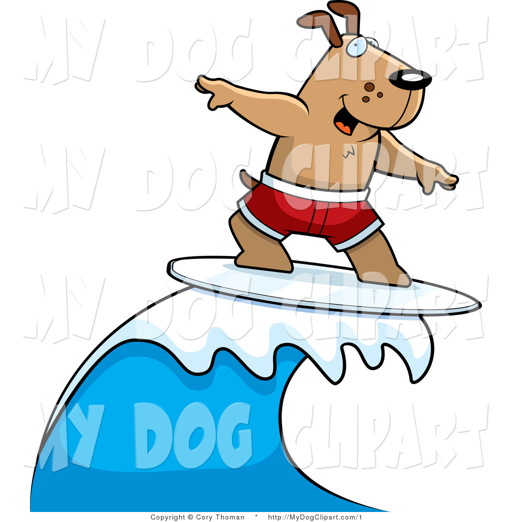 Vector Clip Art of a Surfer Dog on Top of a Wave by Cory Thoman.
