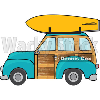 Clipart Blue Woodie Station Wagon With A Surfboard On Top.