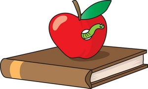 Books with apple on top free clipart.