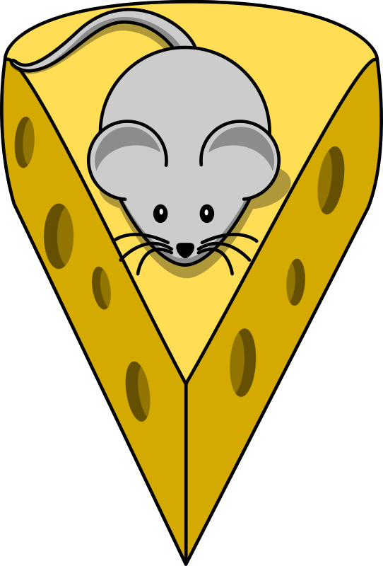 Free Clipart: Cartoon mouse on top of a cheese.