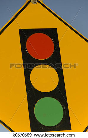 Stock Illustration of Traffic light warning sign for oncoming.