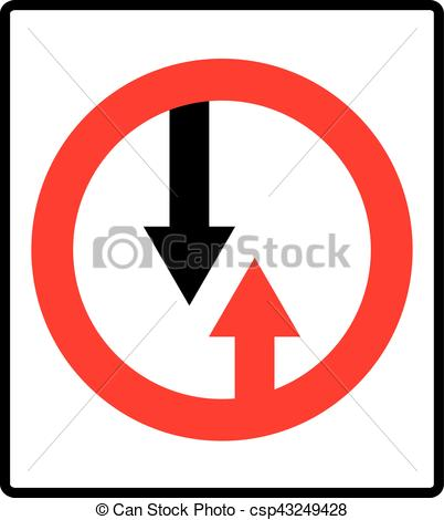 Vector Illustration of Give way to oncoming traffic sign. Vector.