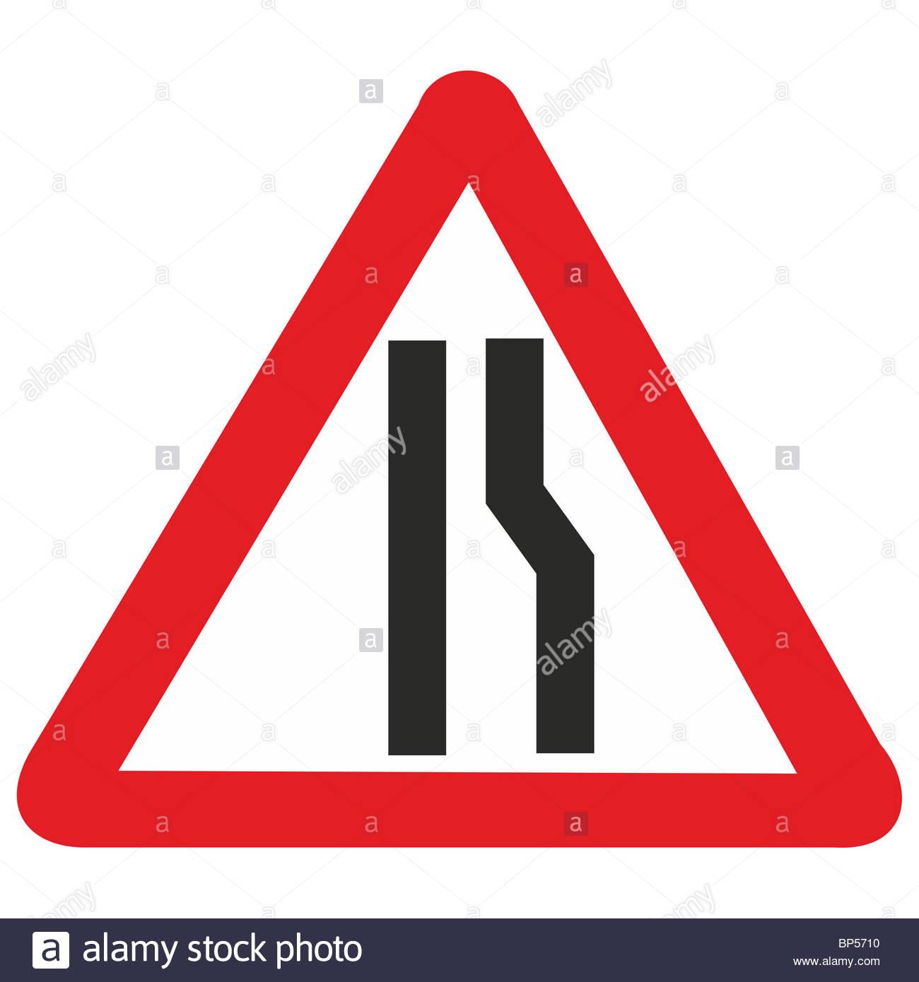 Road Sign Road Narrowing Stock Photos & Road Sign Road Narrowing.