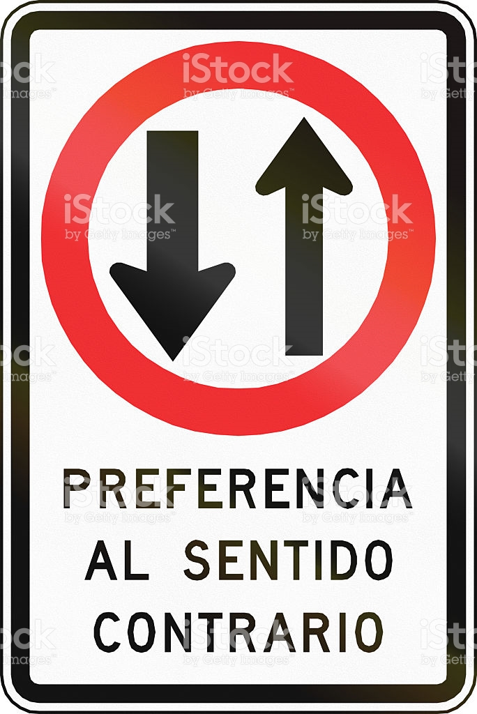 Oncoming Traffic Has Priority In Chile stock photo 468783522.