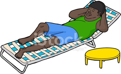 Man Resting on Deck Chair Clipart Image.