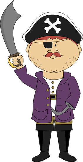 Pirate with Hook Arm Clip Art.