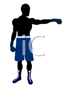 Silhouette of a Boxer Holding Out One Arm.
