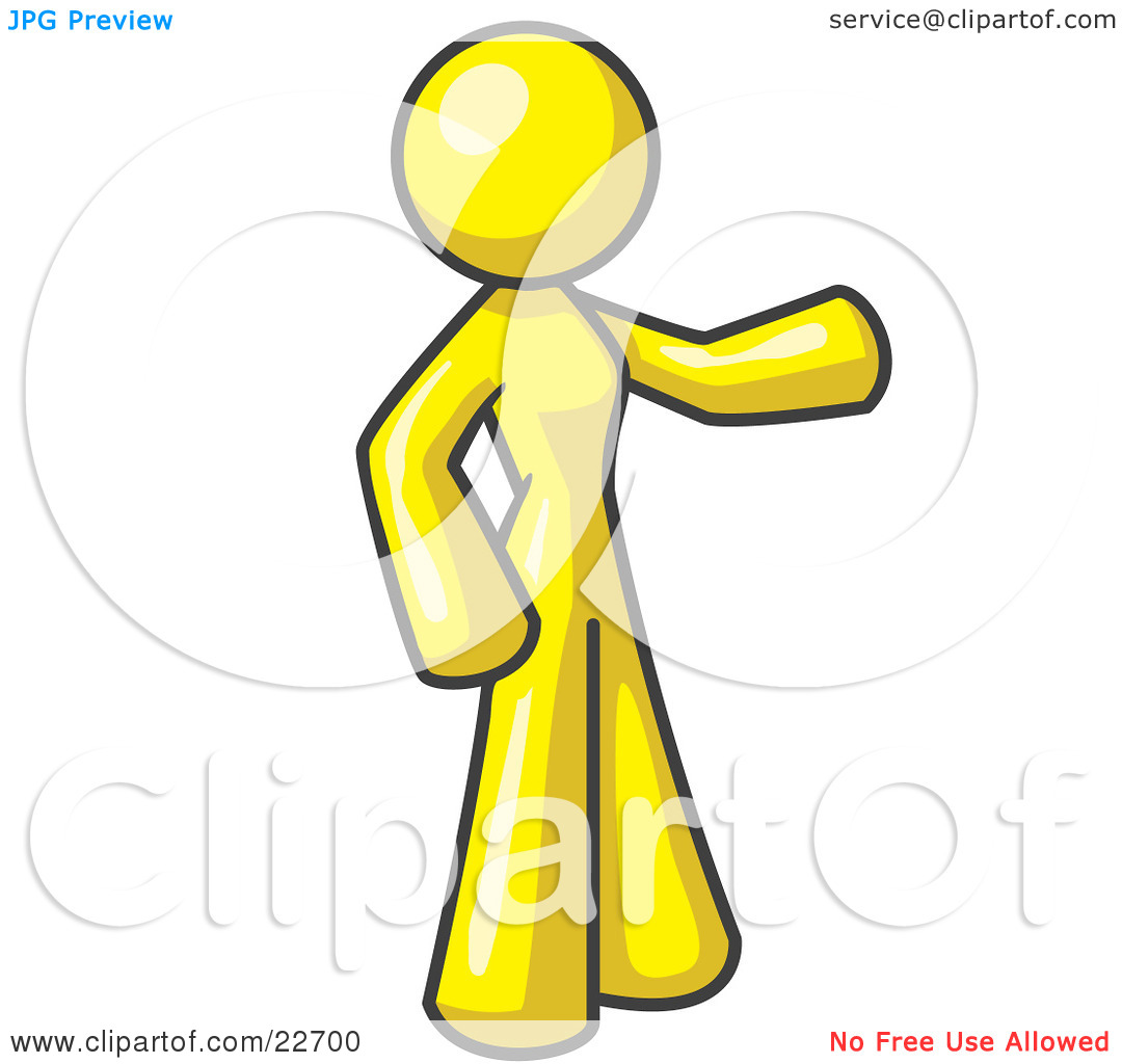 Clipart Illustration of a Yellow Woman With One Arm Out by Leo.