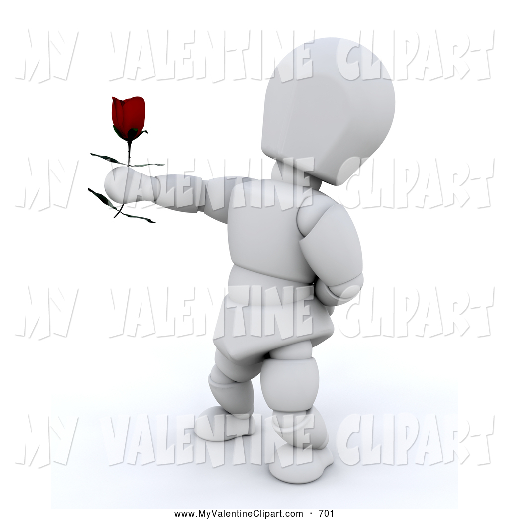 Valentine Clipart of a White Man Standing with One Arm Behind His.