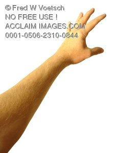 Clip Art Stock Photo of One Arm and Hand Reaching Up.
