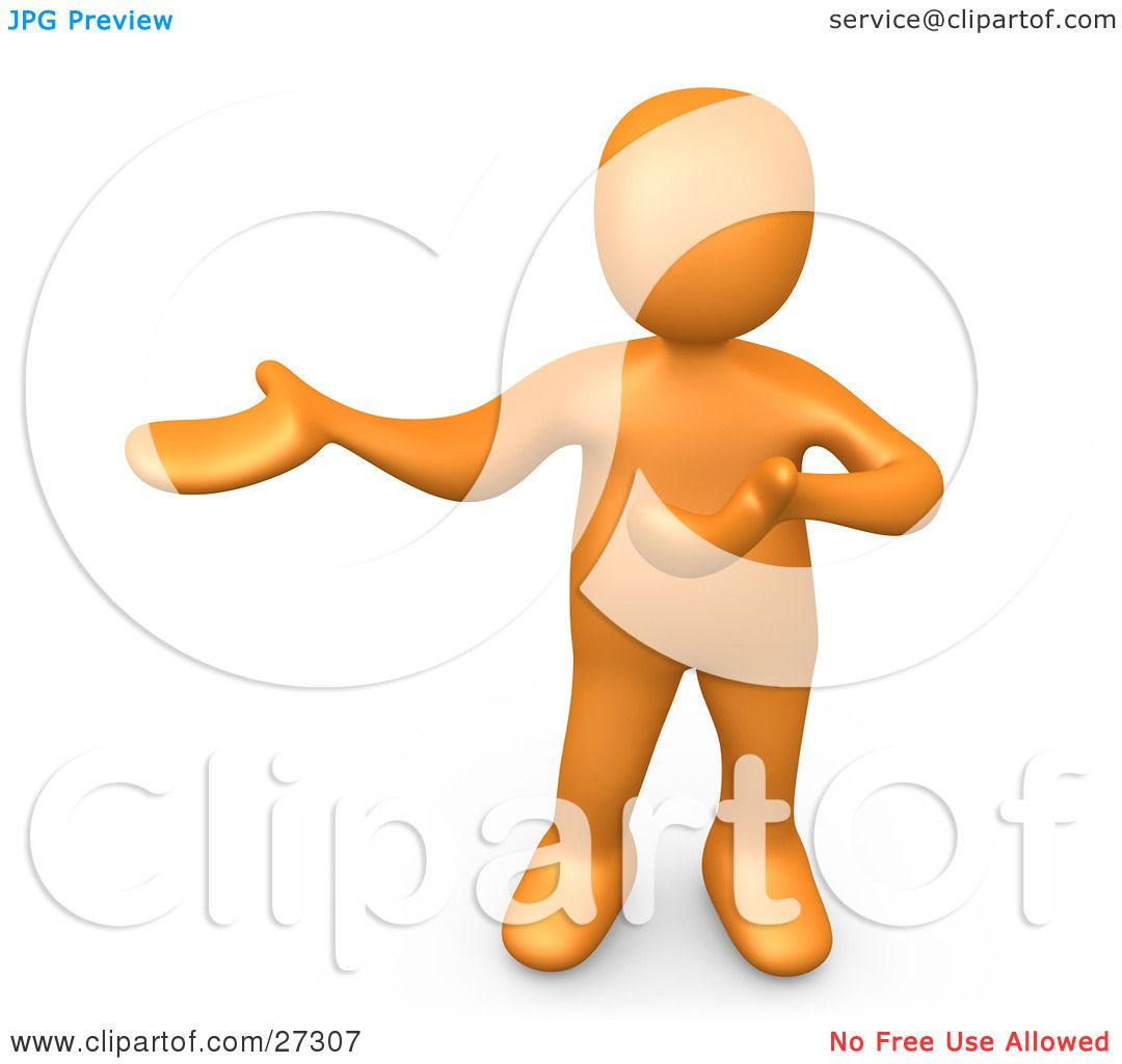 Clipart Illustration of an Orange Person Standing And Holding One.