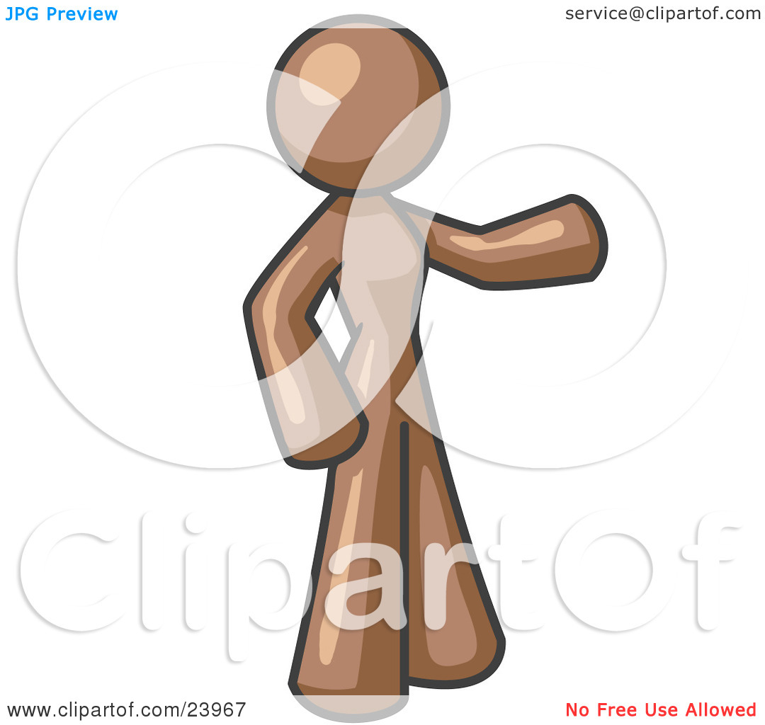 Clipart Illustration of a Brown Woman With One Arm Out by Leo.