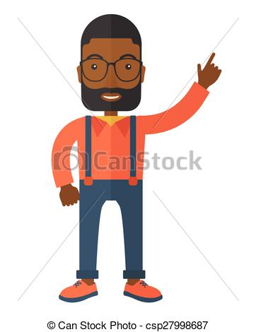 Vector of Man raises his one arm..