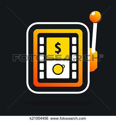 Clip Art of One armed bandit casino sign k21004456.