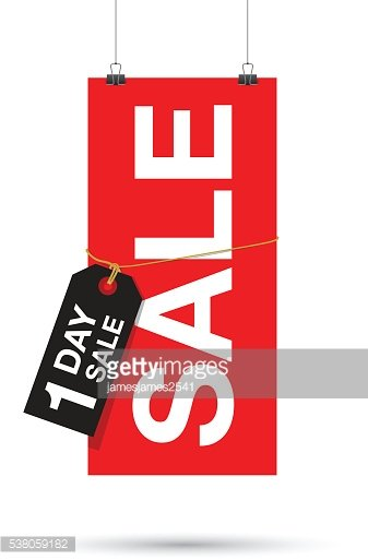 one day to go sale sign Clipart Image.