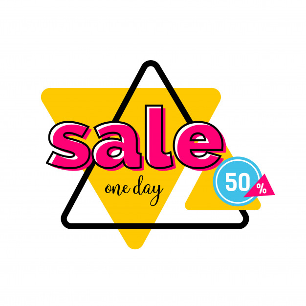 Sale one day lettering on yellow triangle Vector.