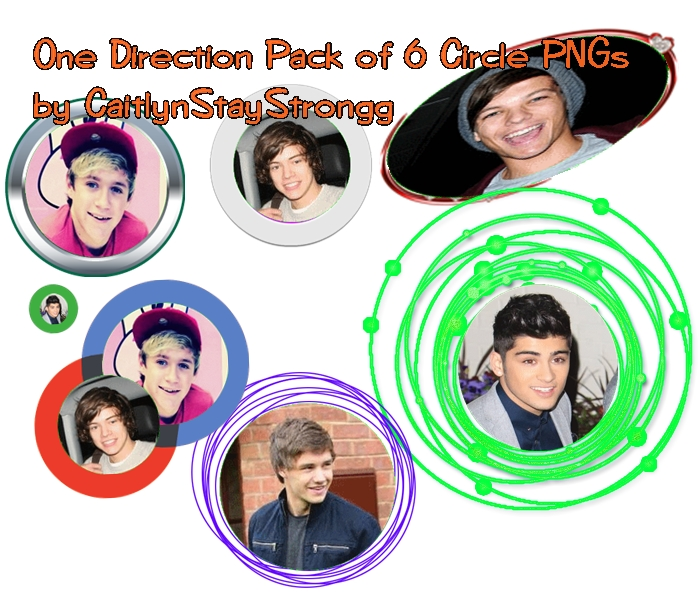 One Direction Pack of 6 Circle PNGs . by CaitlynStayStrongg.