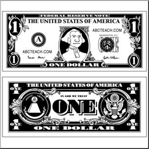 Clip Art: Dollar Bill B&W I abcteach.com.