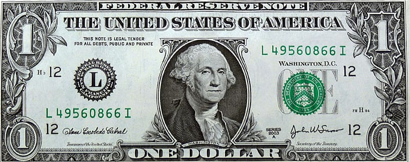 1 US dolla L49560866I banknote, United States one.