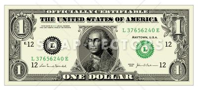 Vector Clipart One Dollar Bill.
