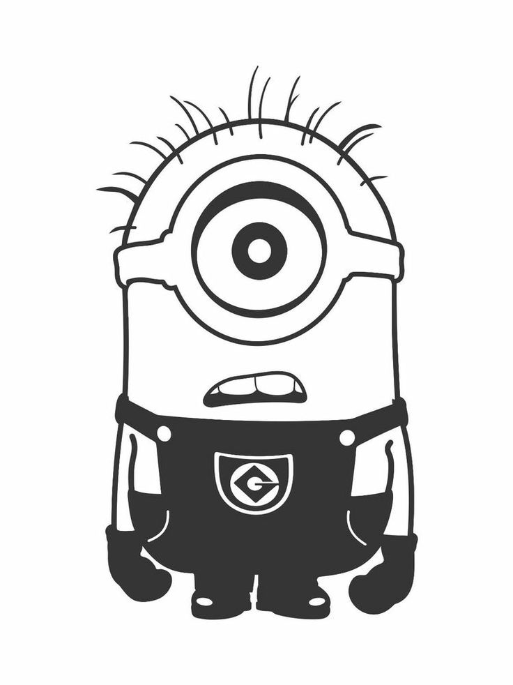 One Eye Minion Clipart Black And White.