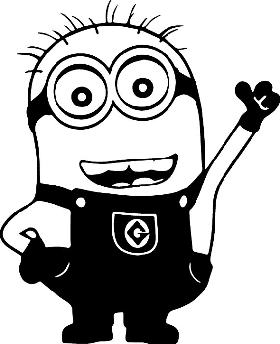 One Eye Minion Clipart Black And White