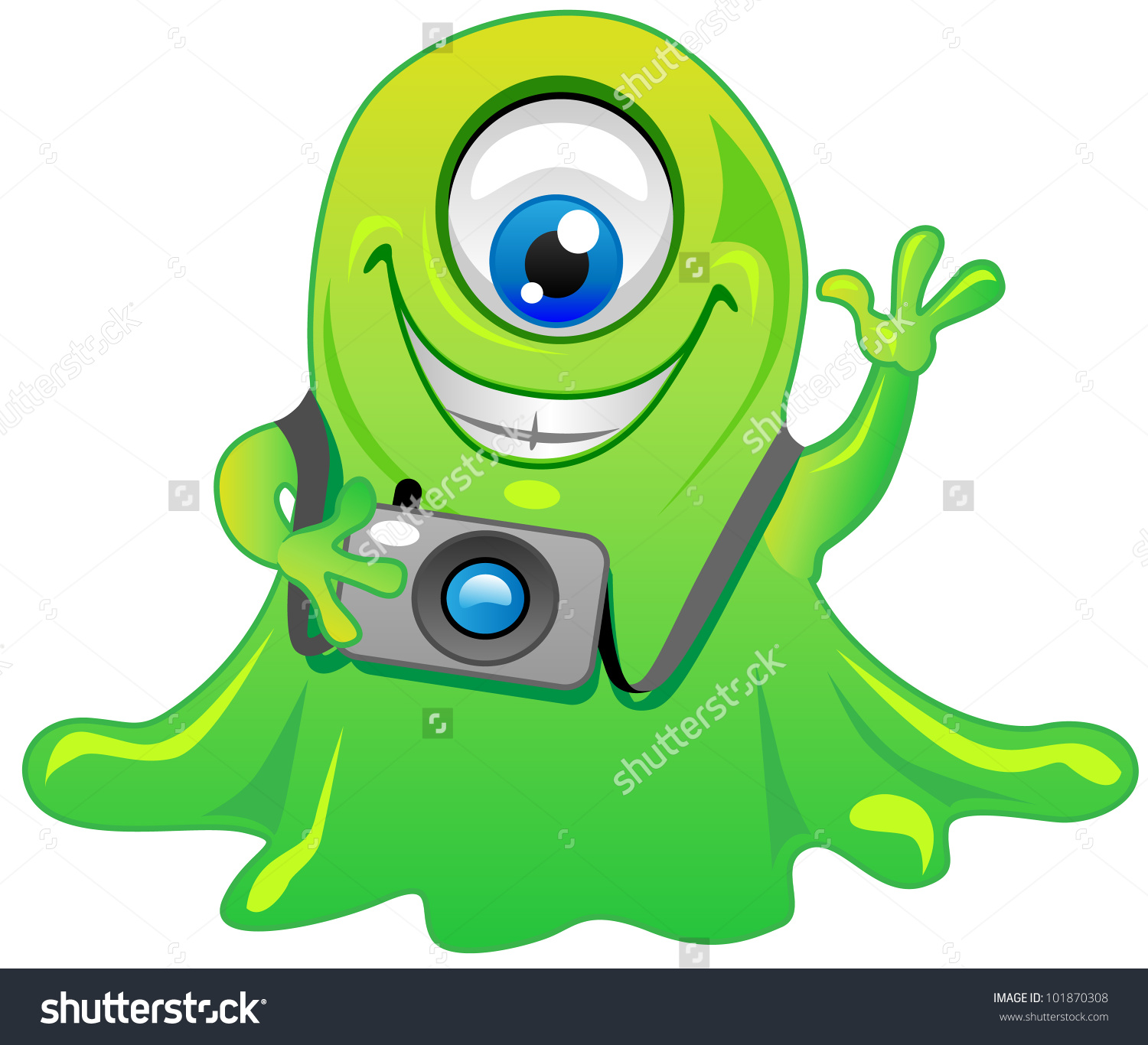 Cute Friendly Green One Eye Slime Stock Vector 101870308.