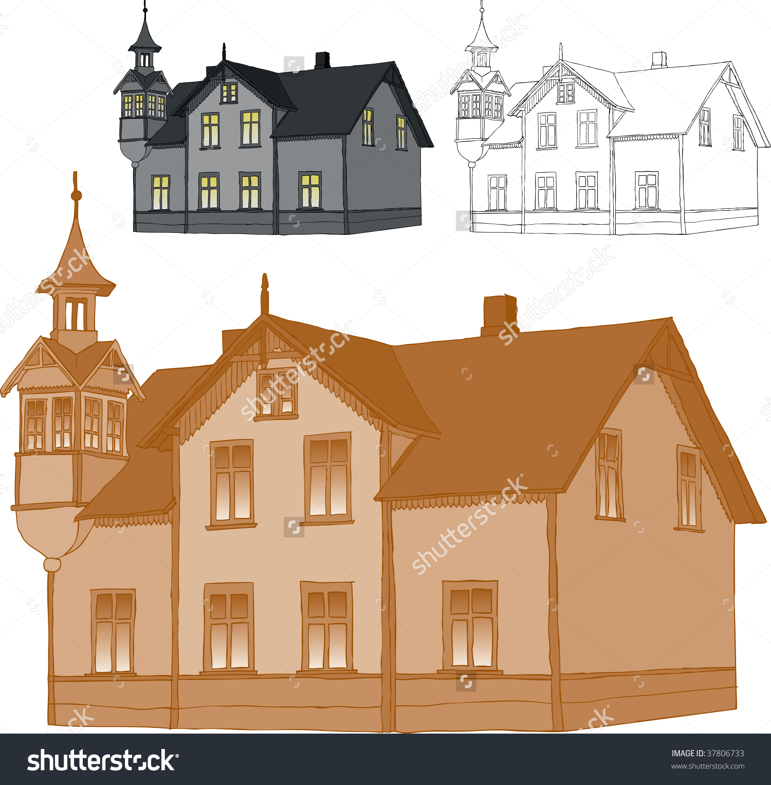 Old Romantic Family House Trace Freehand Stock Vector 37806733.