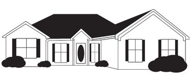 Single Family House One Story Driveway Stock Illustrations.