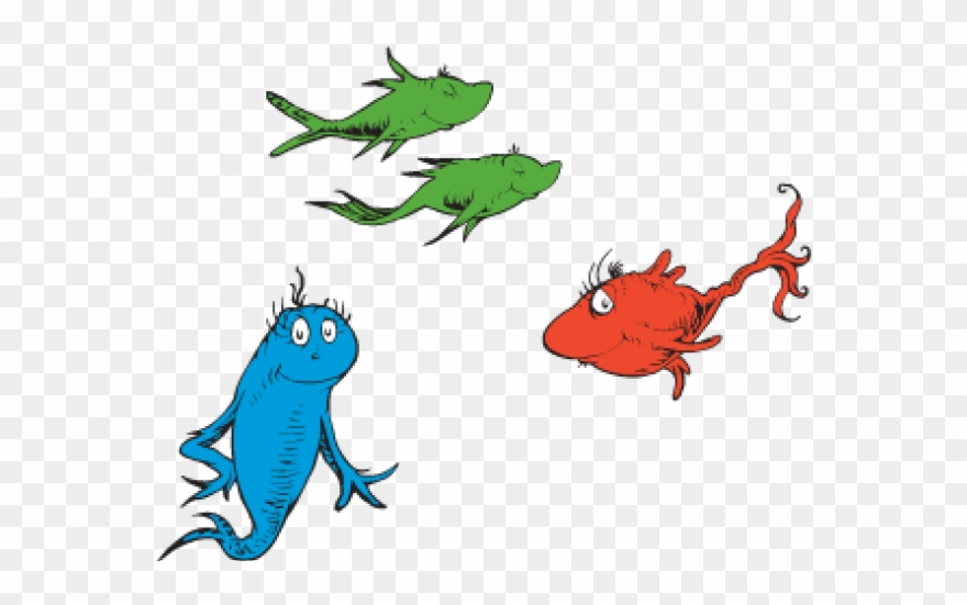 Dr Seuss One Fish Two Fish Red Fish Blue Fish Clipart.