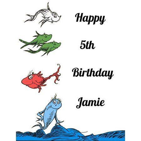 Dr Seuss One Fish Two Fish Red Fish Blue Fish Edible Frosting Image Cake  Topper Sheet 1/4 Sheet.