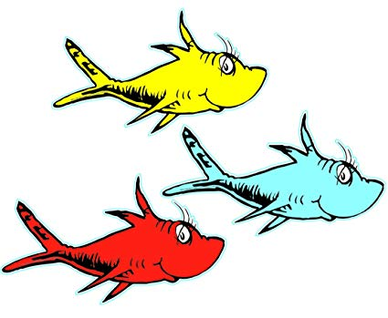 Eureka Back to School Dr. Seuss One Fish, Two Fish Paper Cut Out Classroom  Decorations, 36 pc, 5.5\'\' W x 5.5\'\' H.