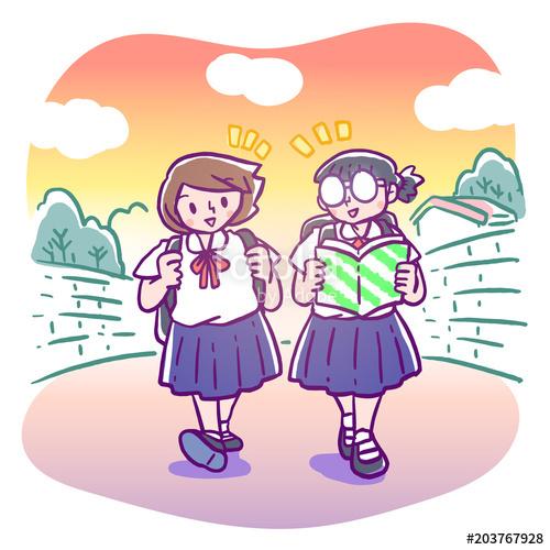 Vector illustration of two elementary schoolgirls chatting.