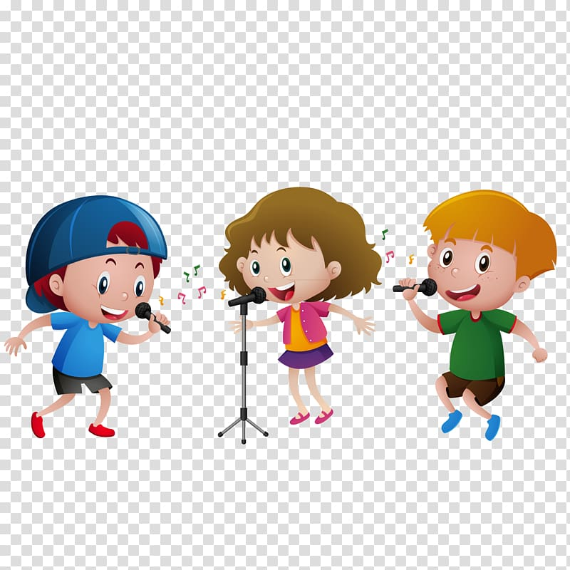Two boys and one girl singing illustration, Dance Singing.