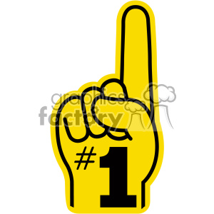 yellow number one hand vector clip art clipart. Royalty.