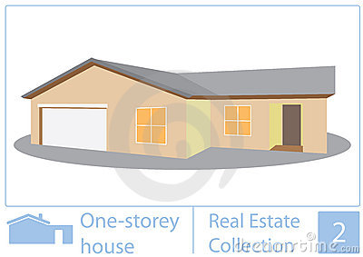 One Story House Stock Illustrations.