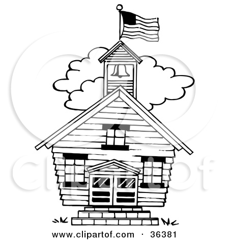 Clipart Illustration of a Flag Atop The Bell Tower Of A One Room.