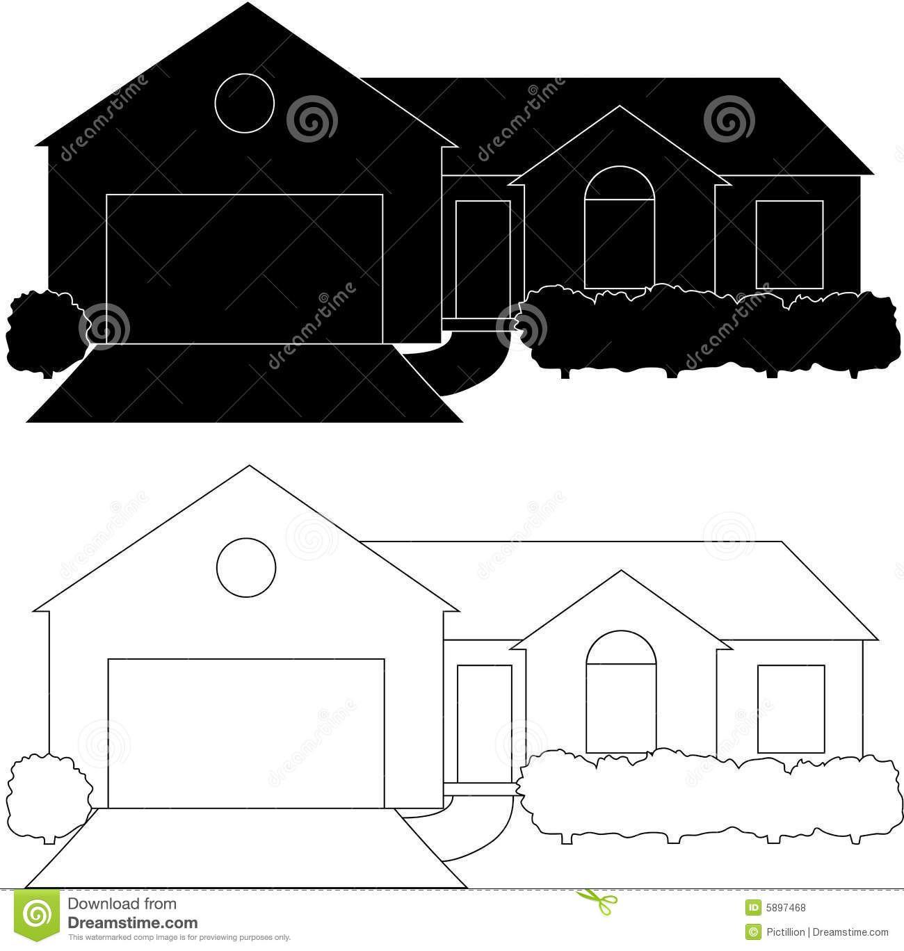 One Story Residential Home Stock Illustrations.