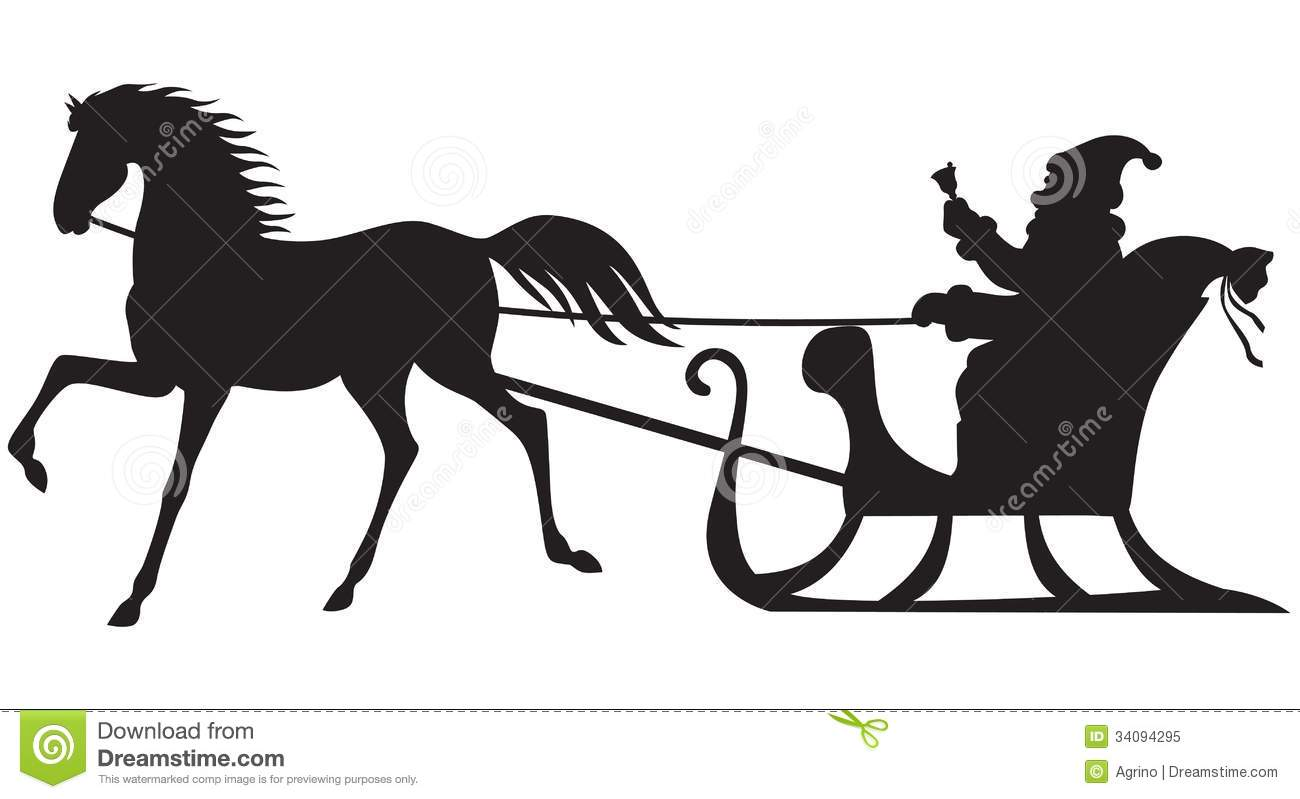 One Horse Open Sleigh Clipart.