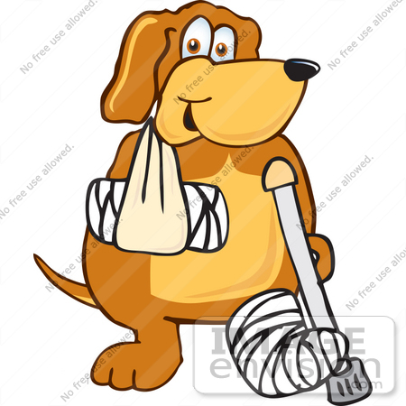 Clip Art Graphic of a Cute Brown Hound Dog Cartoon Character With.
