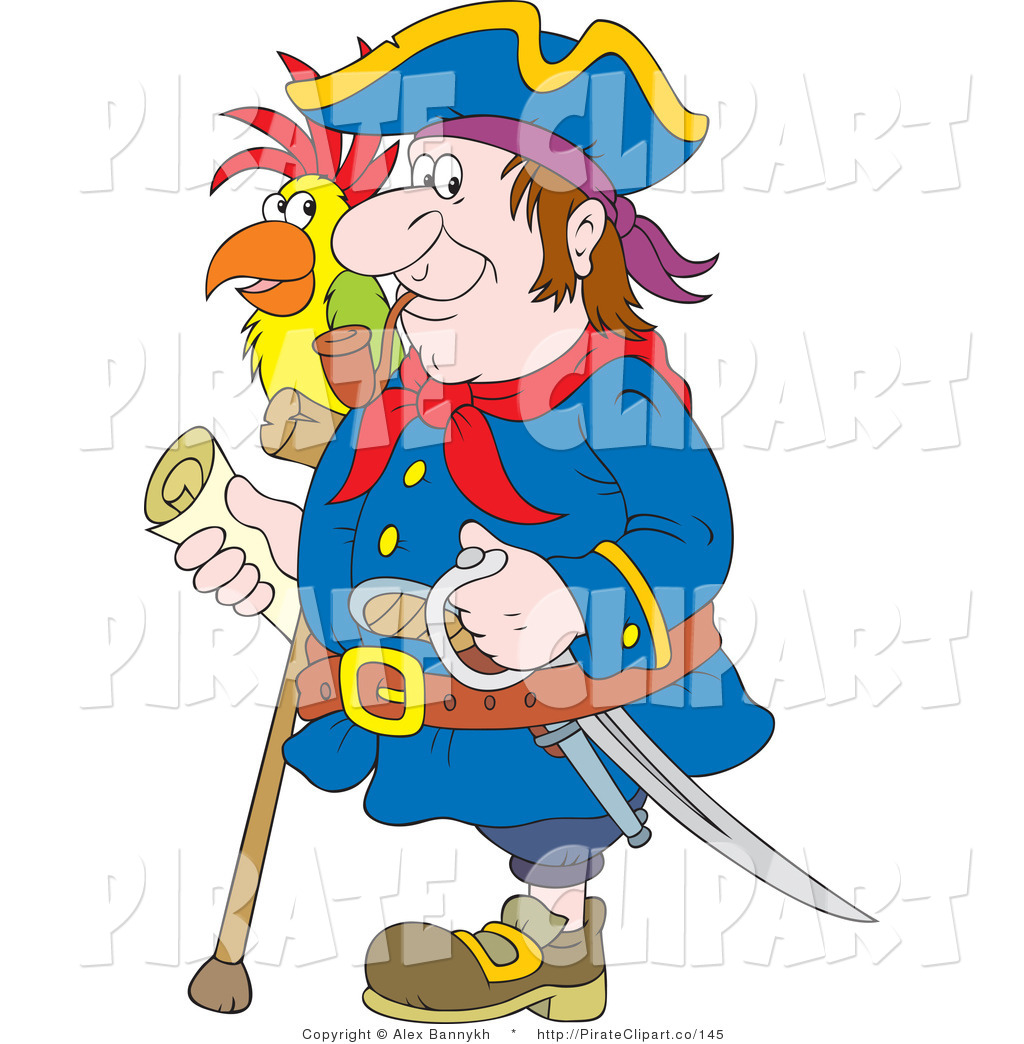 Vector Clip Art of a One Legged Pirate Man Smoking a Pipe.