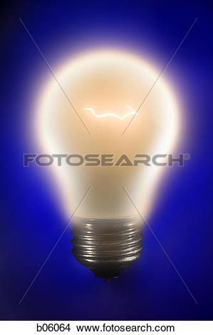 Stock Photo of One light bulb b06064.
