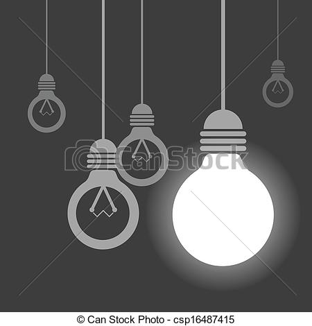 Vector Clip Art of Hanging light bulbs, One of them is lighting.