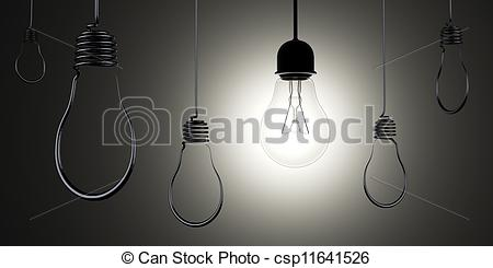 Clip Art of Hanging light bulbs silhouettes with glowing one real.