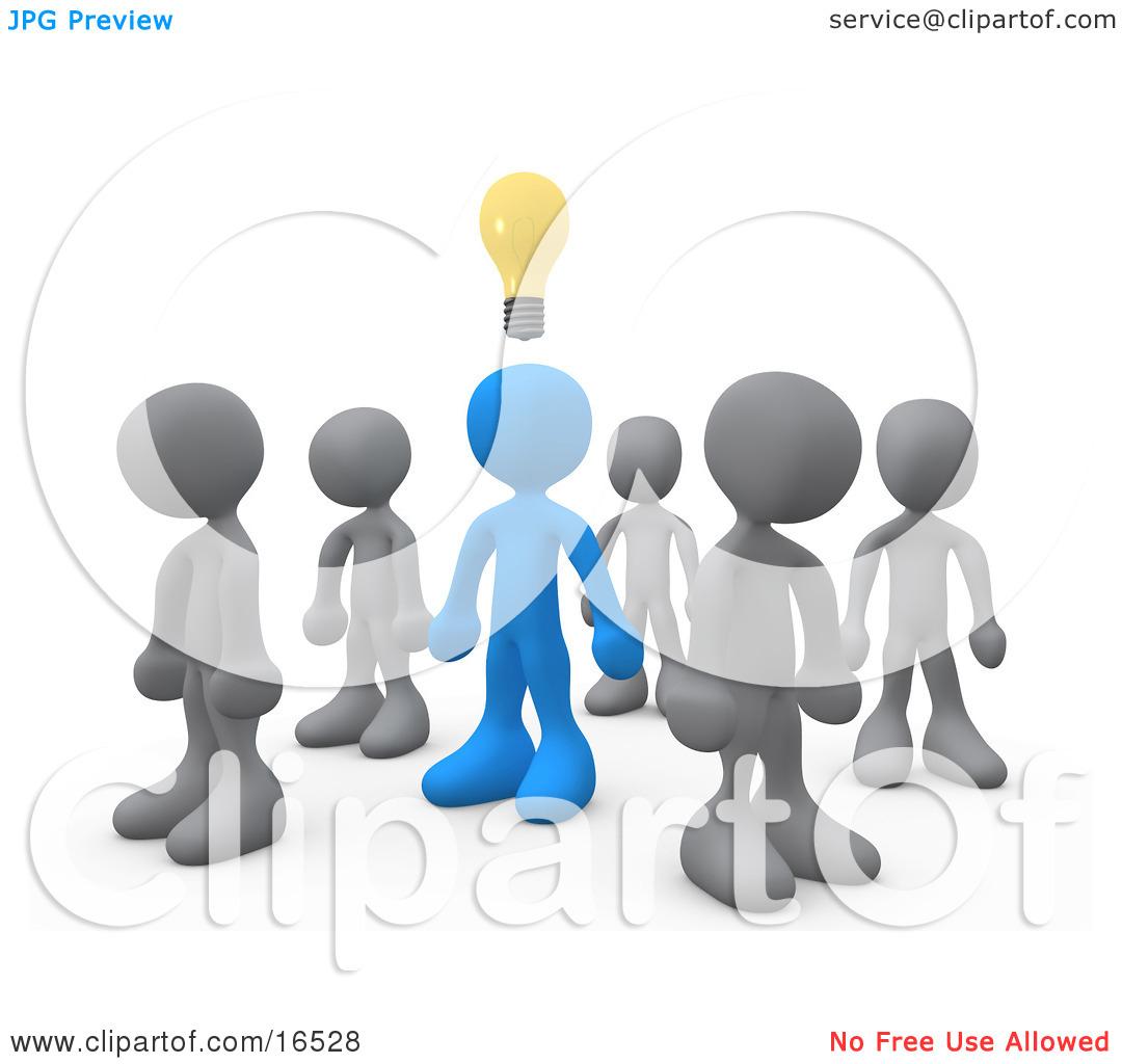 Thinking clipart orange man lightbulb.