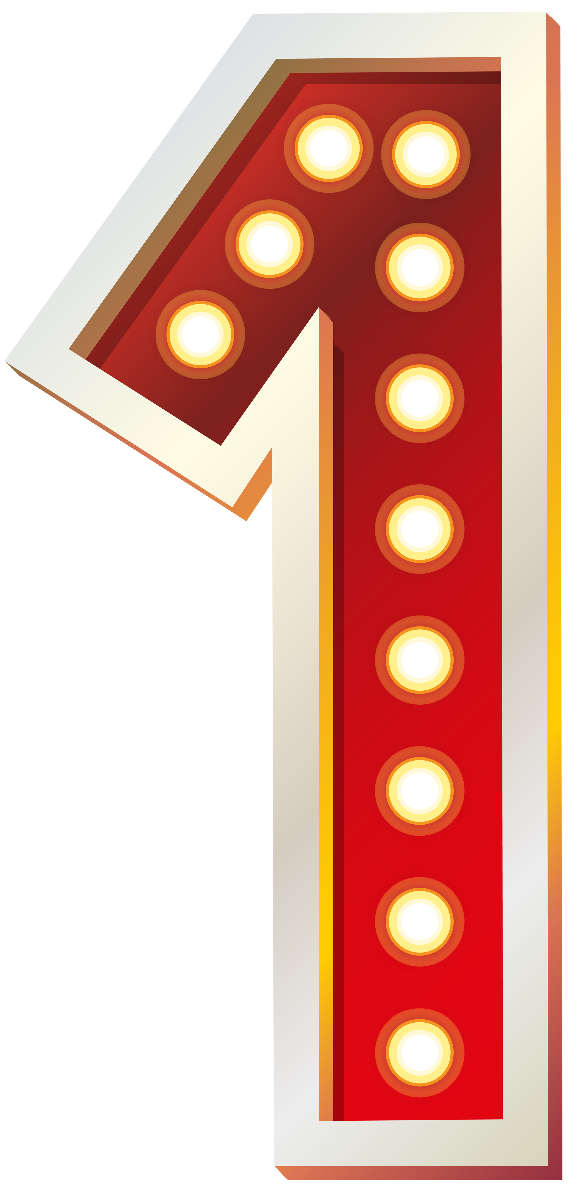 Red Number One with Lights PNG Clip Art Image.