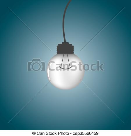 Clipart Vector of One light bulb on a dark background. csp35566459.